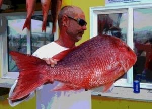 Guest With His Red Snapper Catch