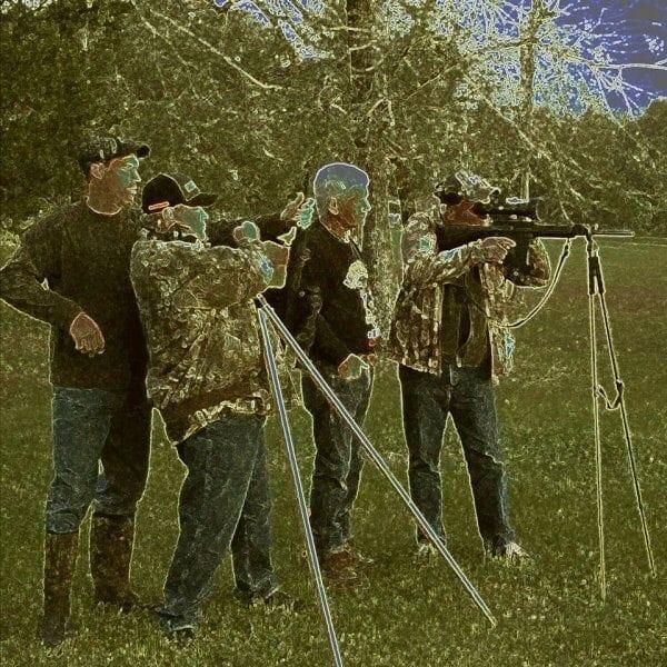 Night Vision view of Wild Hog Hunting
