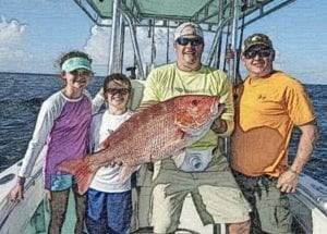 Family Holding Red Snapper