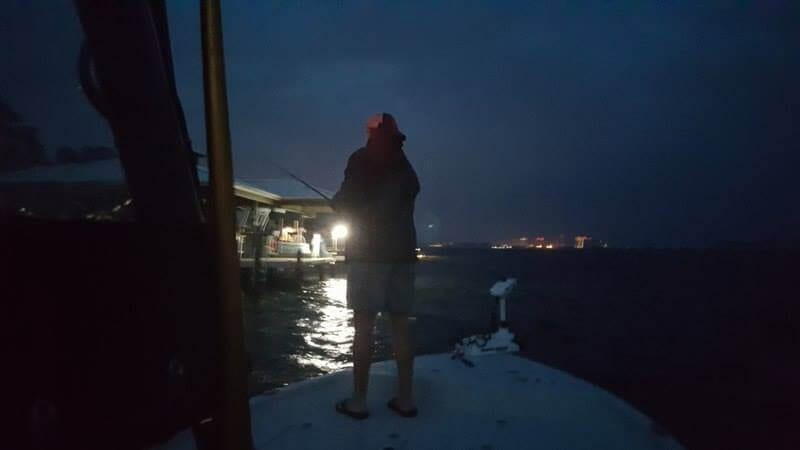 Dock Light Fishing at Night